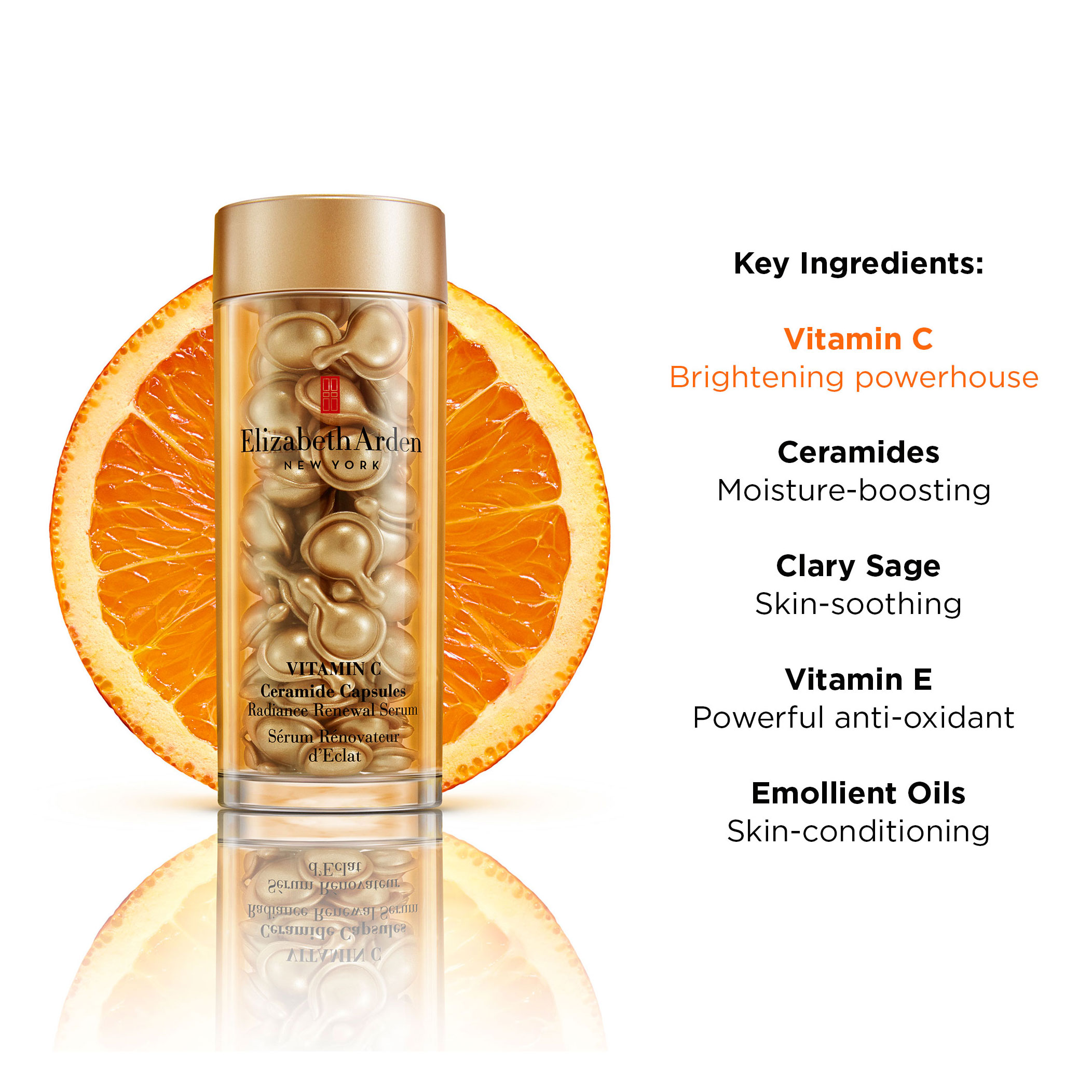 Key Ingredients: Vitamin C (Brightening powerhouse), Ceramides (Moisture-boosting), Clary Sage (Skin-soothing), Vitamin E (Powerful Anti-Oxidant), Emollient Oils (Skin-conditioning)