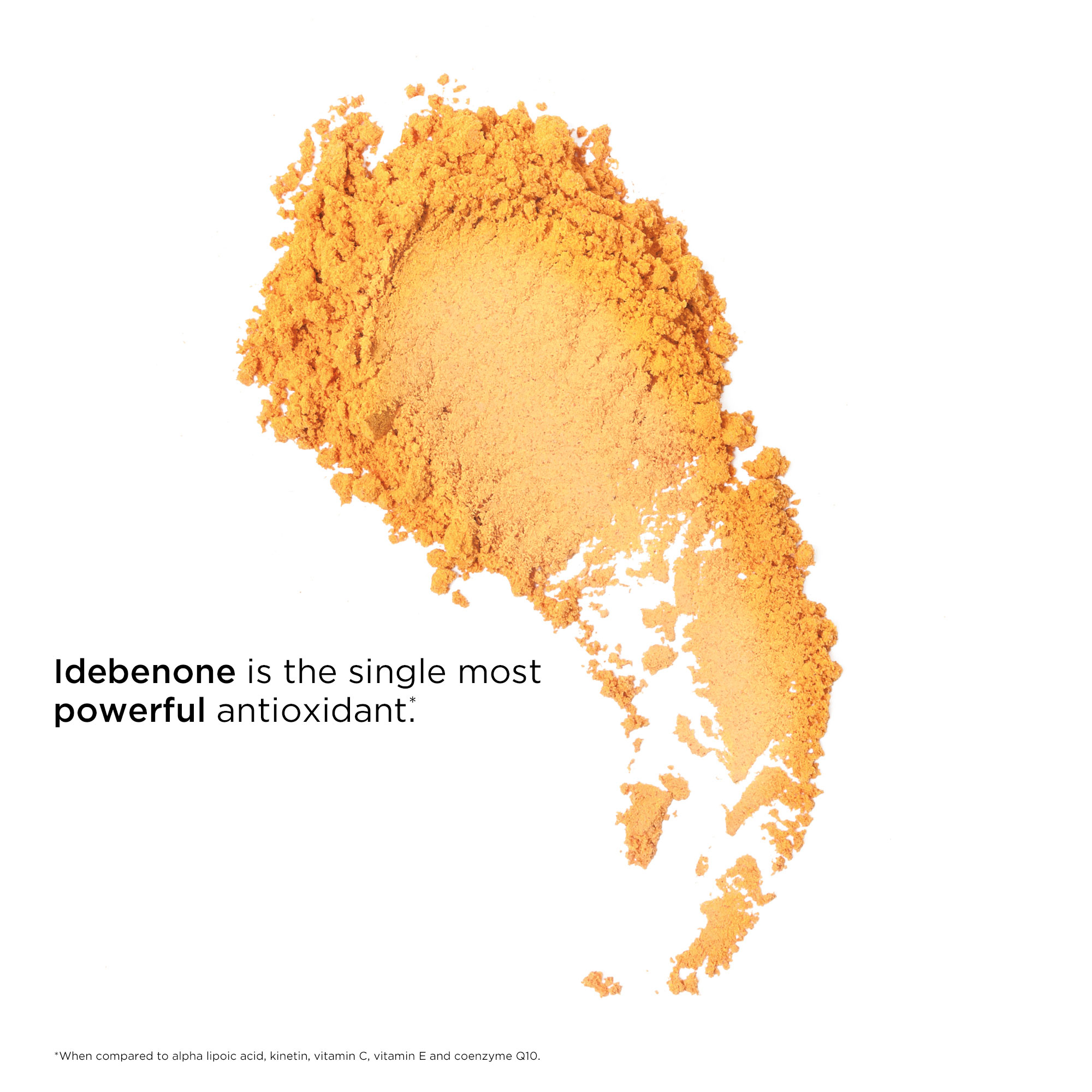 Idebenone is the single most powerful antioxidant when compared to alpha lipoic acid, kinetin, Vitamin c, vitamin e, and coenzyme Q10.