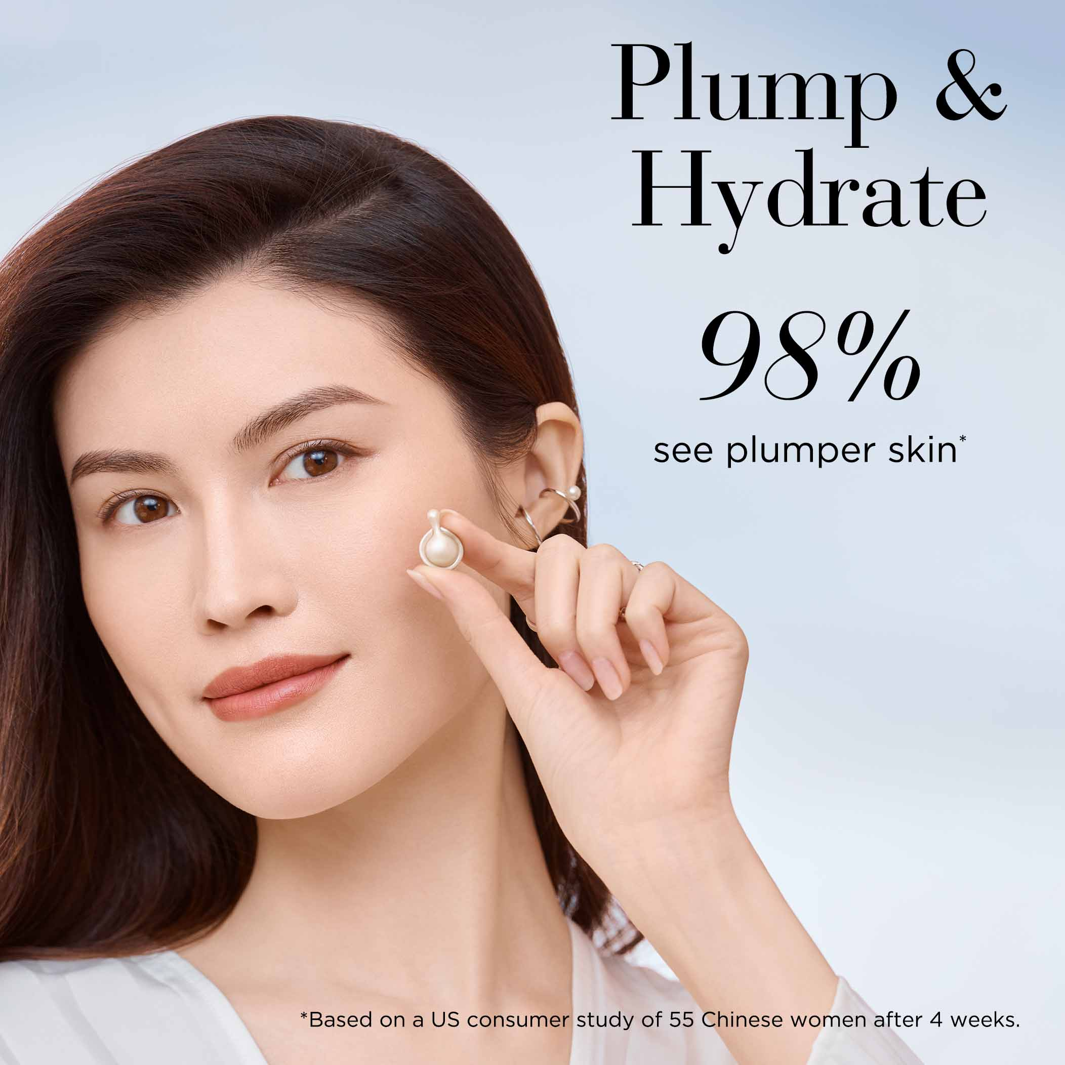 Plump and Hydrate 98% see plumper skin based on a US consumer study of 55 Chinese women after 4 weeks