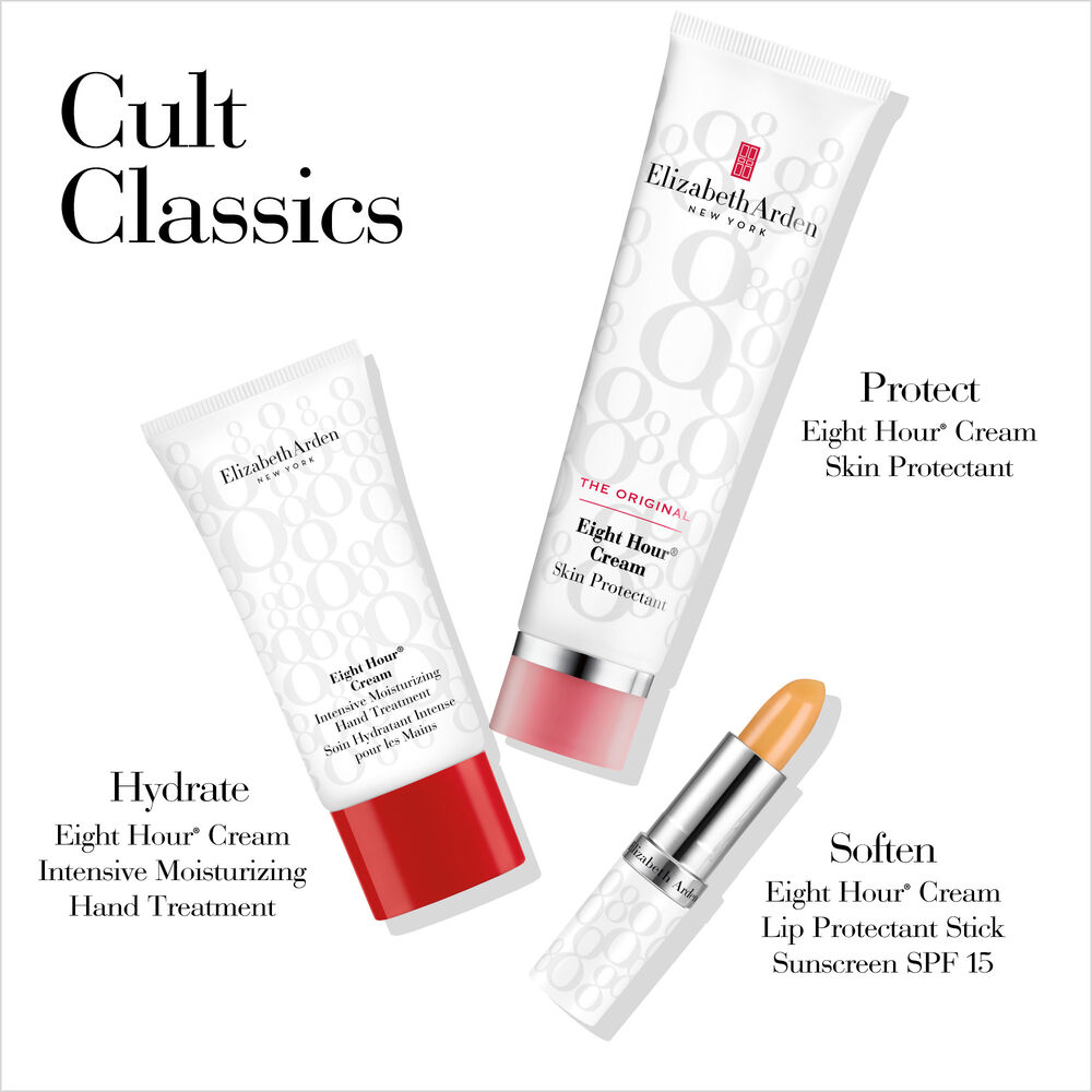 Cult Classics. Protect with Eight Hour Cream Skin Protectant. Hydrate with Eight Hour Cream Intensive Moisturizing Hand Treatment. Soften with Eight Hour Cream Lip Protectant Stick Sunscreen SPF15.