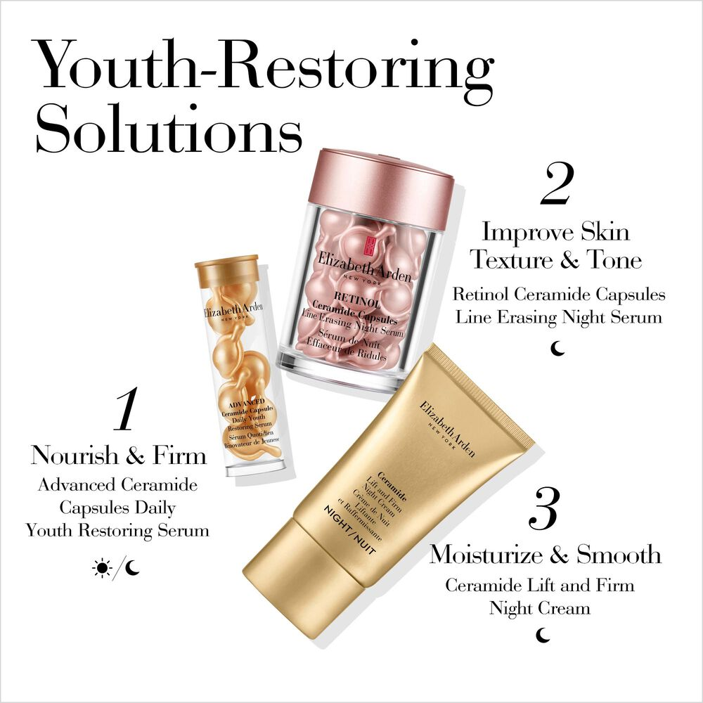 Youth-Restoring Solutions: 1, Nourish and firm with Advanced Ceramide Capsules for Day or Night, 2, Improve Skin Texture and Tone with Retinol Ceramide Capsules for Night, 3, Moisturize and Smooth with Ceramide Lift and Firm Night Cream for Night
